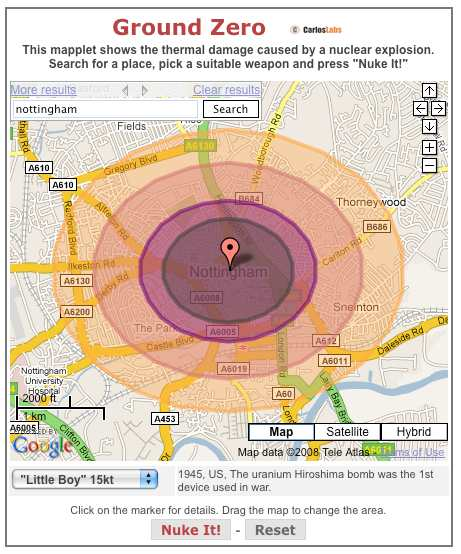 Nuclear Impact on Nottingham with Little Boy style bomb