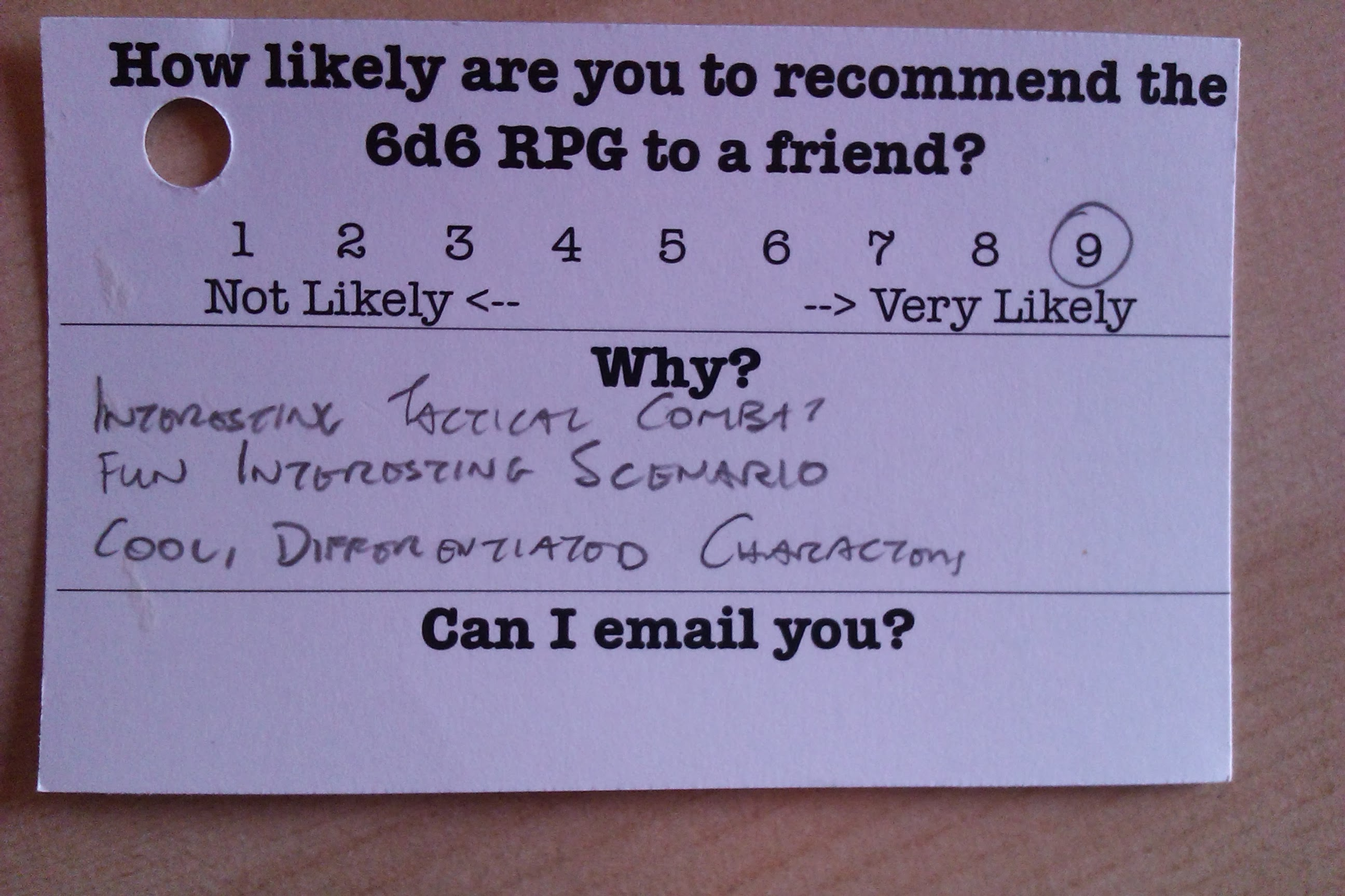 Feedback card from playtesting
